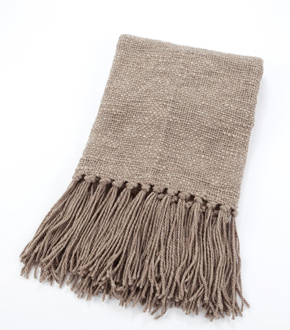 Linda Handwoven Wool Throw - Greige