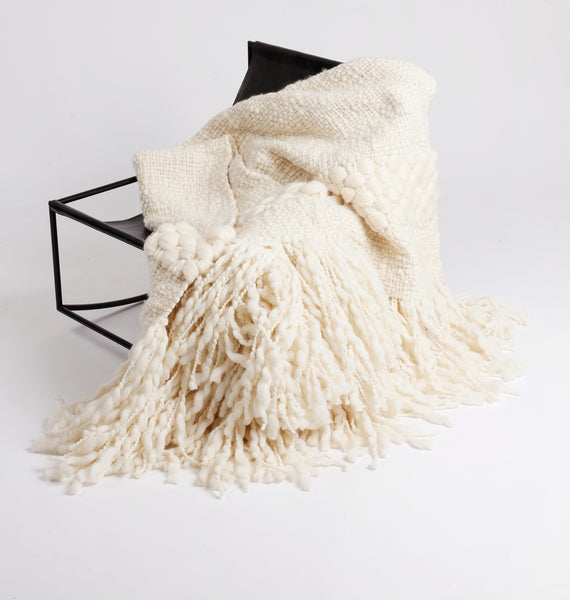 Luna Handwoven Wool Throw - Ivory