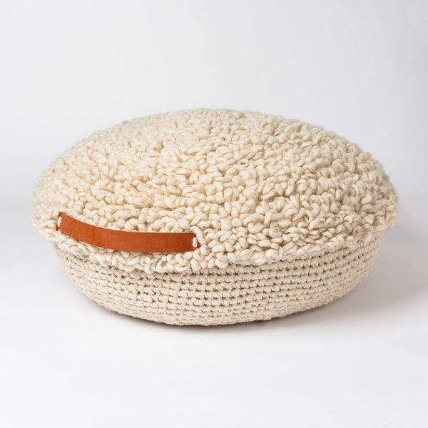 Nido Small Handwoven Floor Cushion - Ivory