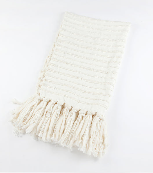 Nieve Handwoven Wool Throw - Ivory