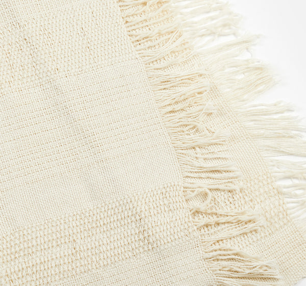 Paz Handwoven Wool Throw - Ivory