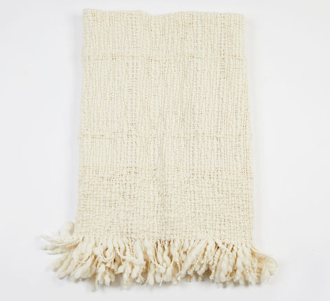 Red Handwoven Wool Throw - Ivory
