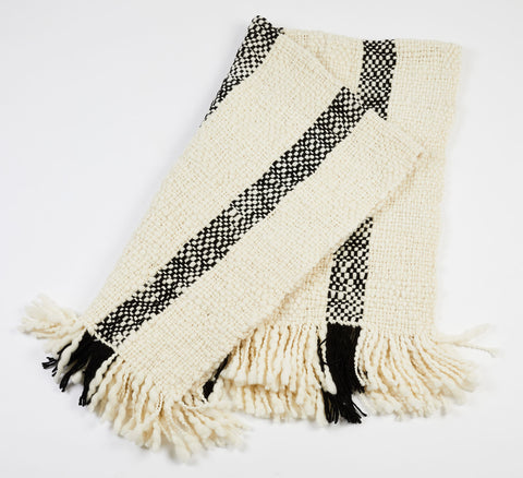 Sur Handwoven Patagonia Wool Throw - Ivory/Black