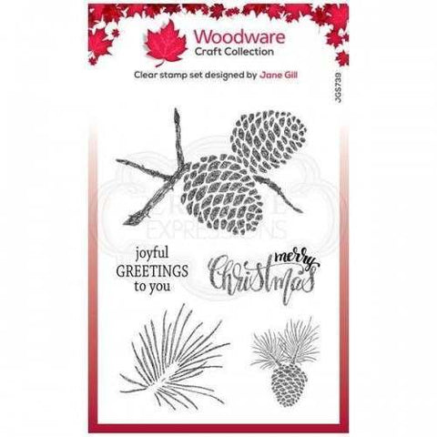 Woodware Sketchy Pine Cones Stamp