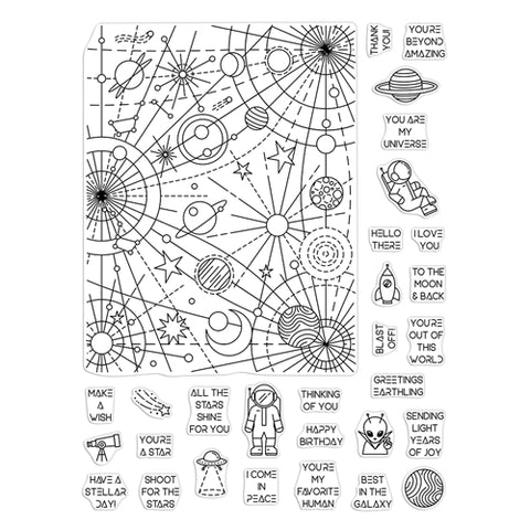 Hero Arts Peek A Boo Parts Clear Stamps - Galaxy