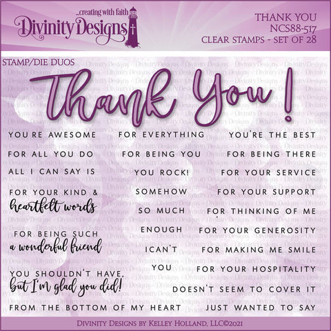 Divinity Designs Thank You Stamp/Die Duos
