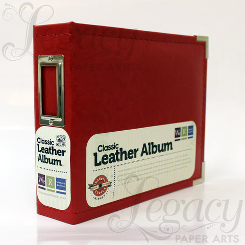"6""x 6"" 3-Ring Classic Leather Album Red"