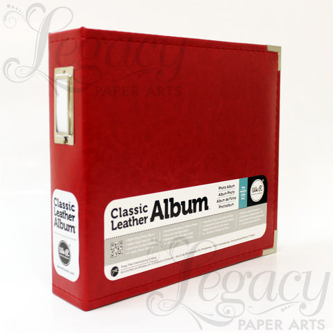 "8""x 8"" 3-Ring Classic Leather Album Red"