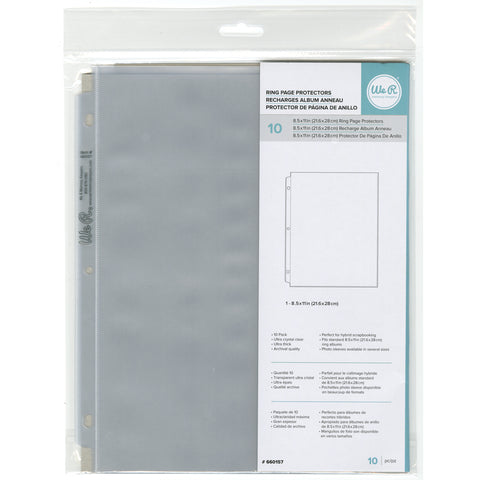"8.5""x 11"" Ring Page Protectors for We R Memory Keepers Scrapbook Albums"