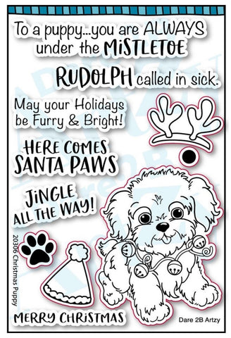 0 Dare 2B Artzy Christmas Puppy Stamps - NEW!