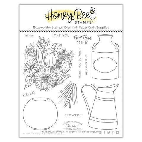 Honey Bee Farm Fresh Flowers Stamp & Die Bundle
