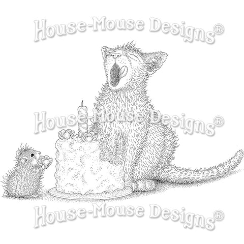 Stampendous House Mouse Stamp - Birthday Kitty