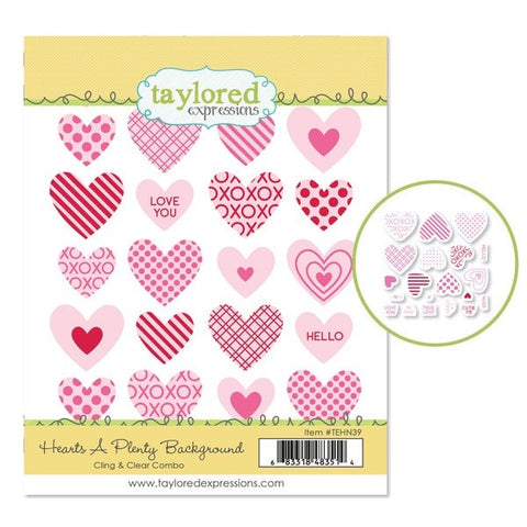 Taylored Expressions Hearts a Plenty Cling/Clear stamp/die BUNDLE