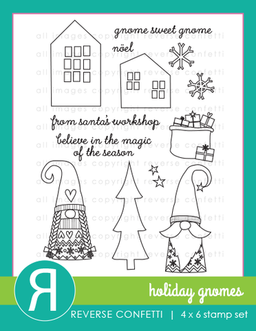 Reverse Confetti Holiday Gnomes Stamp & Die Bundle