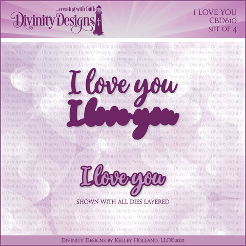 Divinity Designs I Love You Layers word Dies