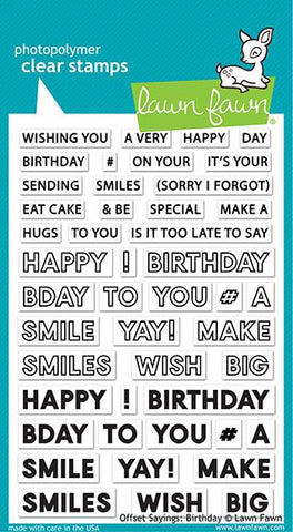 Lawn Fawn Offset Sayings: Birthday Stamp