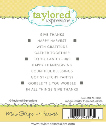 Taylored Expressions Mini Strips Harvest Stamp