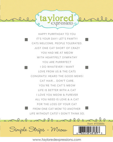 Taylored Expressions Simple Strips Stamps - Meow