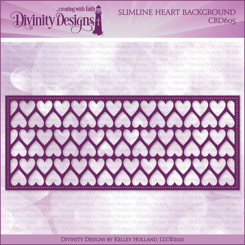 Divinity Designs Slimline Hearts Background Die