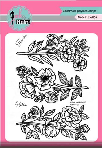 Pink & Main Tall Flowers Stamp & Die BUNDLE