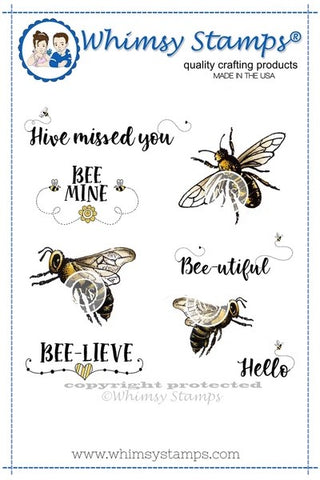 Whimsy Stamps Bee-utiful Bees Rubber Cling Stamp