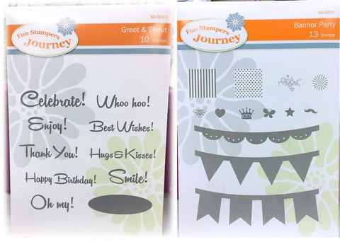 Fun Stampers Banner Party  Stamps and Greet & Shout Stamps Bundle