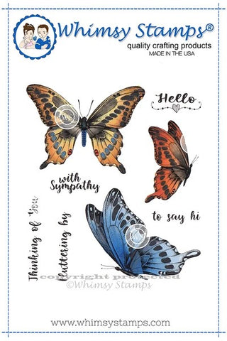 Whimsy Stamps Butterflies Fluttering Rubber Cling Stamp