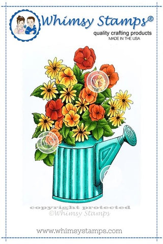 Whimsy Stamps Flower Pail Rubber Cling Stamp