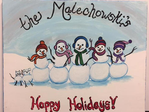 Adult Class: 911 - Nov. 04,  3:00-5:00 - Holiday Custom Snowman Family 16x20 Canvas