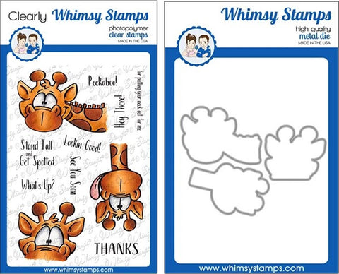 Whimsy Stamps Giraffes Peeking Clear Stamps & Dies Bundle