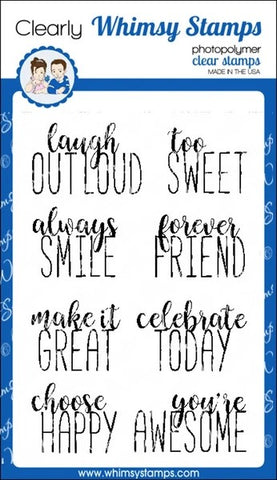Whimsy Stamps Happy Headlines Clear Stamps