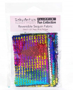 Inky Antics Reversible Sequin Fabric - Rainbow Hologram to Silver Hologram
