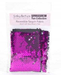 Inky Antics Reversible Sequin Fabric - Fushia to Silver