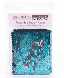 Inky Antics Reversible Sequin Fabric - Turquoise to Rose Gold
