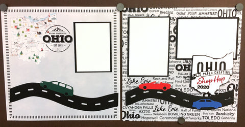 Ohio Shop Hop Scrapbook Layout & Custom Die Cuts