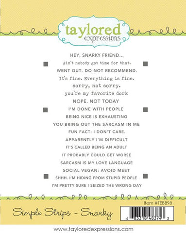 Taylored Expressions Simple Strips Stamp - Snarky