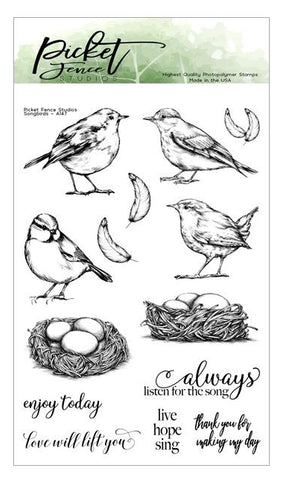 Picket Fence Song Birds Stamp