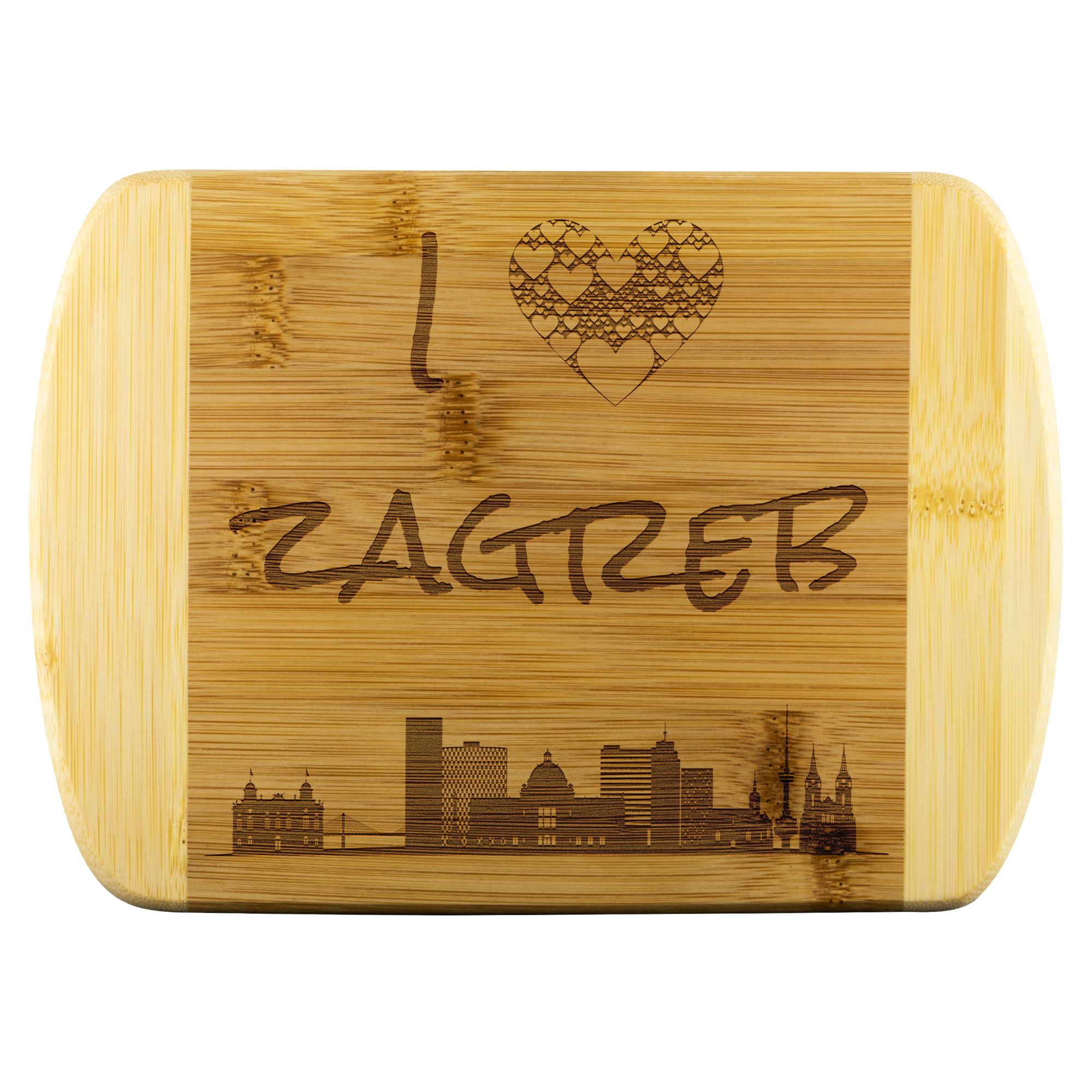 Engraved Housewarming Gift I Love Zagreb Croatia Bamboo Wood Cutting Board