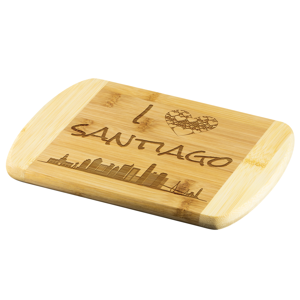 I Love Santiago Chile Skyline Bamboo Wood Cutting Board Gift