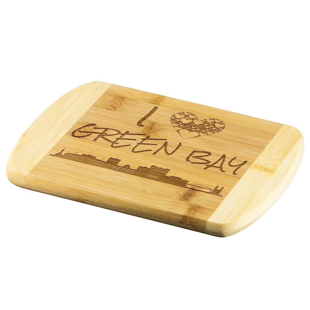Engraved Housewarming Gift I Love Green Bay Wisconsin Organic Wood Cutting Board Gift