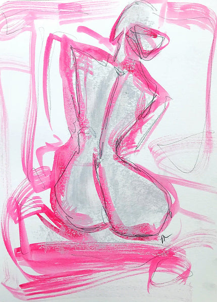 9x12 Hot Pink Figure Study II