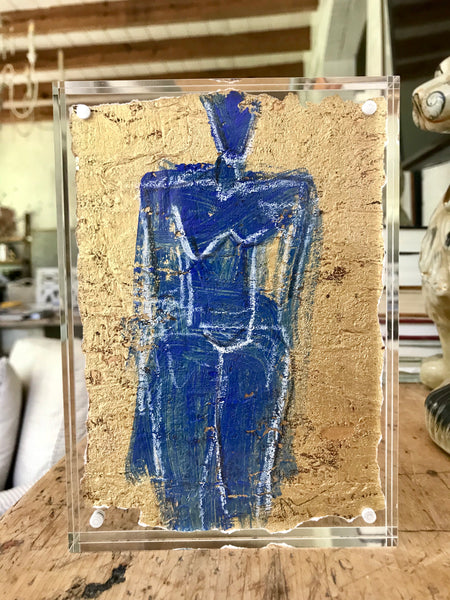 Cobalt Figure on Gold Leaf in 5x7 Lucite