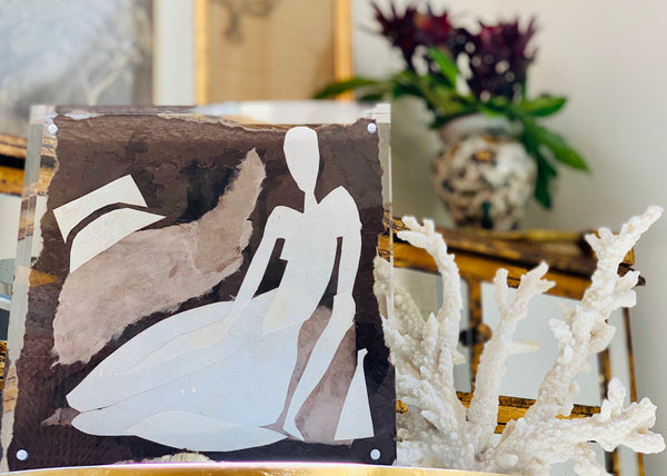 Abrams Collage in Lucite - HALEY MATHEWES FINE ART original abstract art landscape figure figures landscapes Charleston artist unframed framed lucite gold watercolor charcoal canvas contemporary modern affordable classic