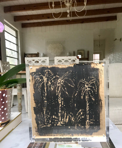 10x10 Lucite Framed Etched Palm Study