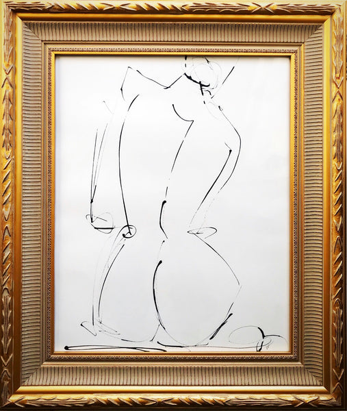 Inky Figure Study I in Carved Frame