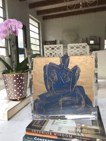 10x10 Lucite Framed Figure Study - HALEY MATHEWES FINE ART original abstract art landscape figure figures landscapes Charleston artist unframed framed lucite gold watercolor charcoal canvas contemporary modern affordable classic