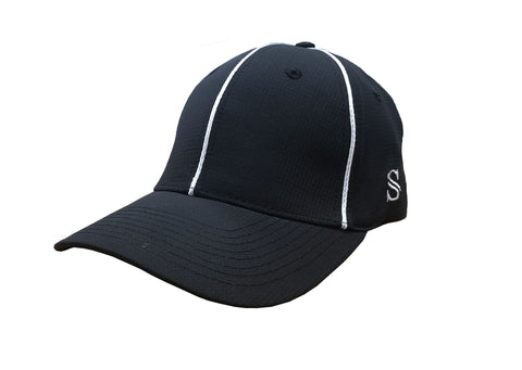 *NEW* HT110 - Smitty - Performance Flex Fit Hat - Black with White Piping