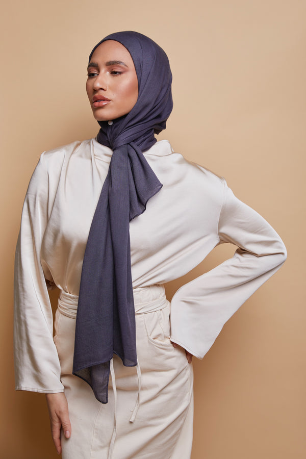 Breathable Modal Hijab - Charcoal Gray