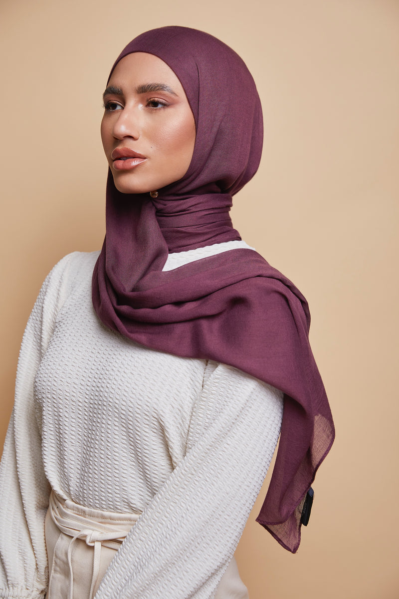 Breathable Modal Hijab - Muted Burgundy