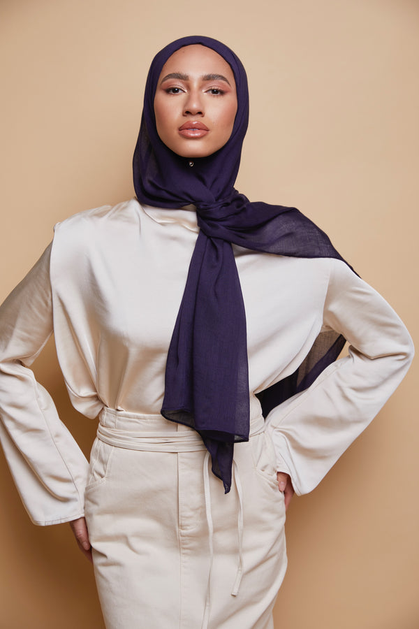 Breathable Modal Hijab - Navy Blue